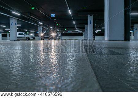 Parking Car. Empty Road Asphalt Background. Car Lot Parking Space In Underground City Garage. Interi