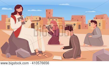 Jesus Christ And Children Reading Holy Bible Flat Vector Illustration