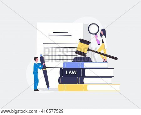Law Business Regulatory Compliance Banner With People Flat Vector Illustration.