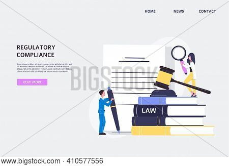 Regulatory Compliance Website Banner With Tiny People Flat Vector Illustration.