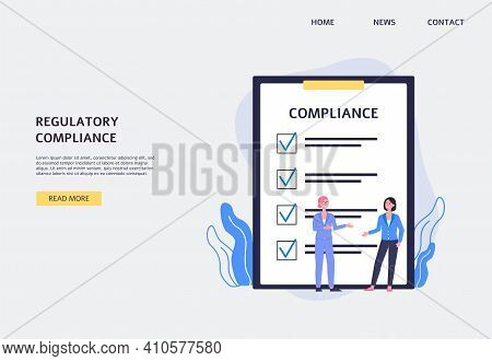 Law Regulatory Compliance Website Banner Design Flat Vector Illustration.