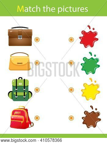 Match By Color. Puzzle For Kids. Matching Game, Education Game For Children. What Color Are The Obje