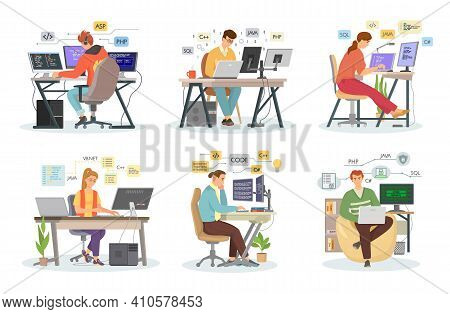 Create Code Programming Language. Php, Html, C , Css, Js. Professional Programmers Working Writing C