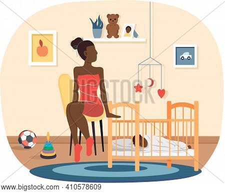 Afro American Woman Puts To Bed Child In Cradle. Healthy Kid, Happy Family, Maternity Leave And Glad