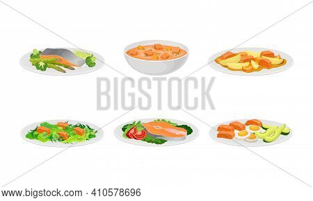 Salmon Dishes Served With Vegetables And Garnished With Pot Herbs Vector Set
