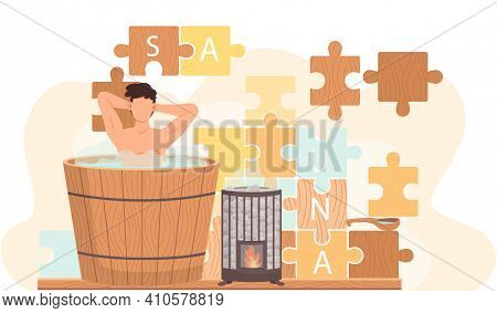 Naked Guy Stands In Barrel And Bathes. Man In Tub Against Background Of Puzzle With Inscription Saun