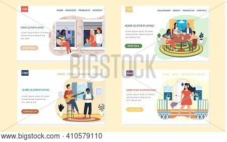 Set Of Illustrations About Website With People Have Hobbies. Musicians Playing Guitar. Guitarists Us