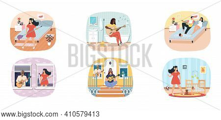 Set Of Illustrations Performers Practice Chords. People Play Guitar And Compose Songs At Home. Rest