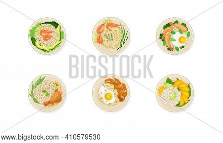 Thai Dishes And Main Courses With Steamed Rice, Seafood And Rice Top View Vector Set