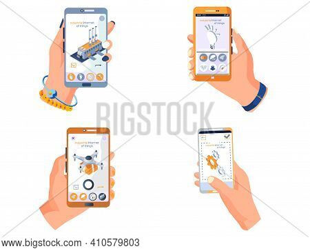 Human Hand Holding Phone With App About Modern Technologies Attributes Of Technological Progress Sma