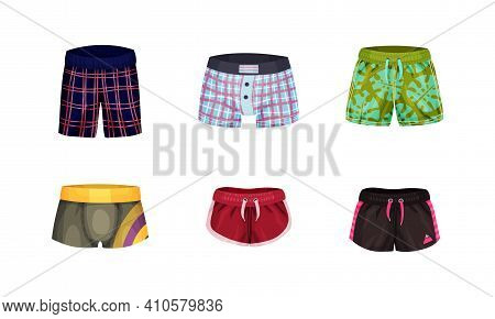 Loose-fitting And Tight Male Brief Shorts And Swimming Trunks Vector Set. Colorful Swimwear Or Bathi