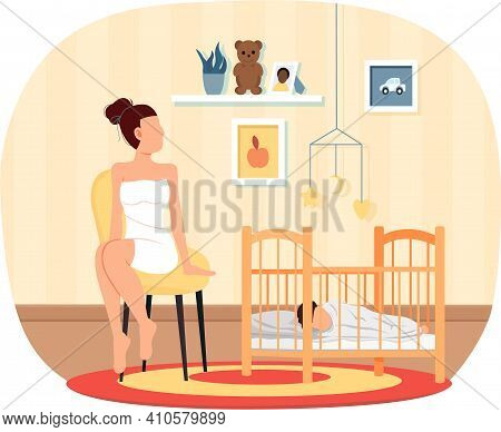 Pretty Woman Puts To Bed Child In Cradle. Healthy Kid, Happy Family, Maternity Leave And Glad Mother