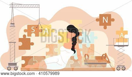 Young Woman On Background Of Pieces Of Puzzle With Inscription Sauna. Technique Assembles Puzzle And