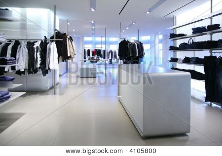 Clothing In A Empty Modern  Store