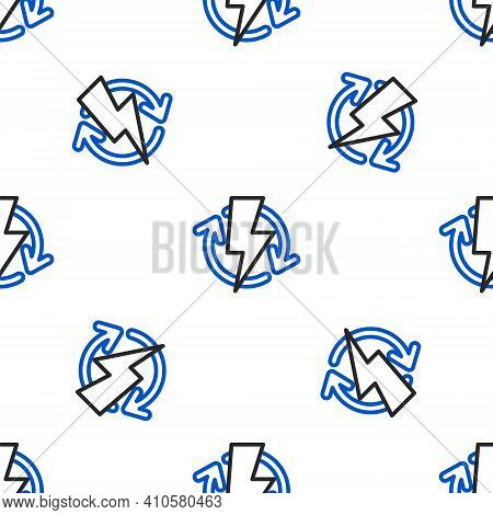 Line Recharging Icon Isolated Seamless Pattern On White Background. Electric Energy Sign. Colorful O