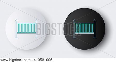 Line Baby Crib Cradle Bed Icon Isolated On Grey Background. Colorful Outline Concept. Vector