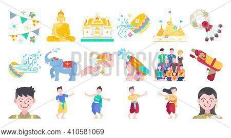 Songkran Thailand Festival Flat Design Icon Set. Thai Water Splashing Festive Day, Thai Dancing Trad