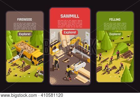 Isometric Banners With Sawmill Process Of Felling And Firewood Cutting 3d Isolated On Black Backgrou