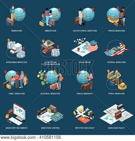 Population Mobility Migration Displacement Isometric Set With Compositions Of Icons With Text Captio