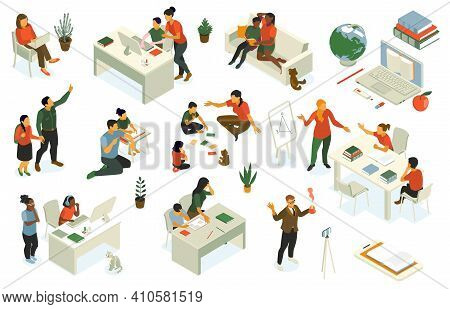Homeschooling Isometric Set With Parents Supporting Studying Children Creating Learning Space Teachi