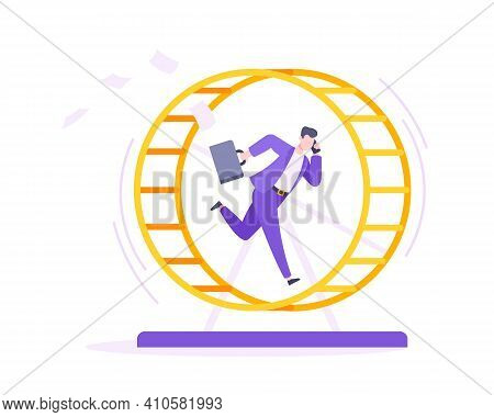 Rat Race Business Concept With Businessman Running In Hamster Wheel Working Hard And Always Busy Fla