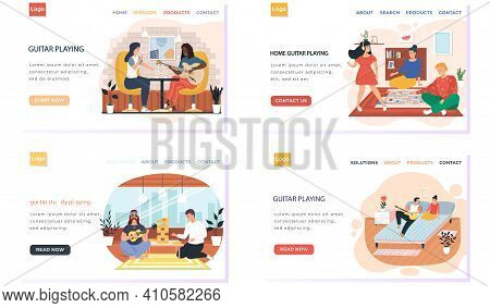 Set Of Illustrations About People Entertain Each Other And Perform. Playing Guitar At Home Concept.