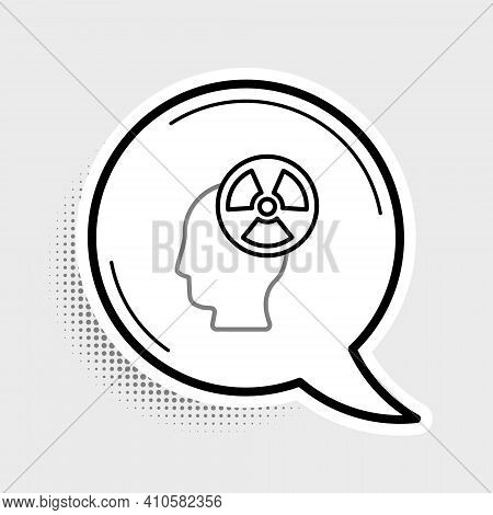 Line Silhouette Of A Human Head And A Radiation Symbol Icon Isolated On Grey Background. Colorful Ou
