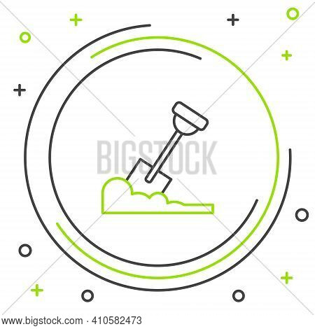 Line Shovel In The Ground Icon Isolated On White Background. Gardening Tool. Tool For Horticulture,