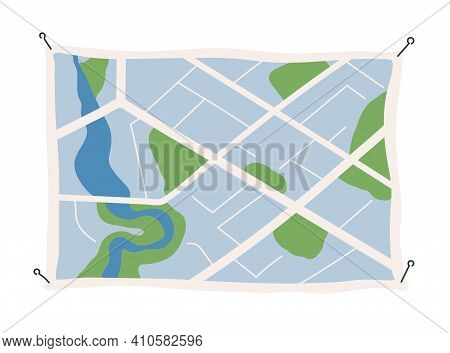 Generic City Map With Signs Of Streets, Roads And Parks. Abstract Navigation Plan Of Small Urban Are