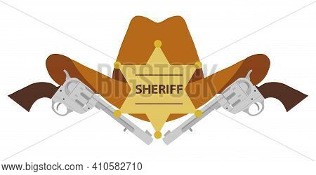 Sheriff's Hat. Sheriff's Hat With Two Revolvers Isolated On White Background. Vector Illustration. V