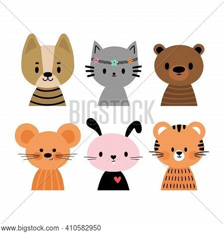 Cute Cartoon Animals For Postcards, Invitation, Nursery, Posters, T-shirt. Hand Drawn Characters Of