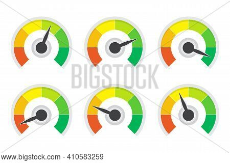 Set Of Level Indicator Gauges Speedometer In A Flat Design