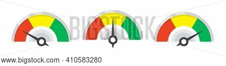 Set Of Measuring Speedometer Icons. Infographic Gauge Elements