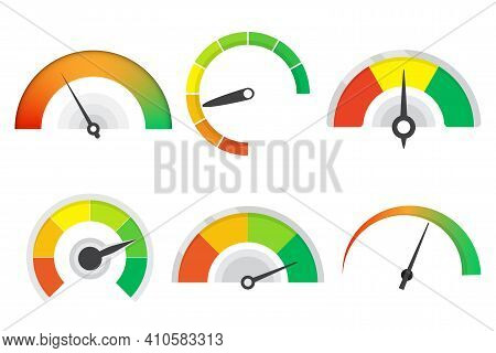 Set Of Different Meter Gauge Element. Sustomer Satisfaction Meter Collection. Set Of Level Indicator