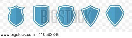 Set Of Blue Shield Icons In A Flat Design