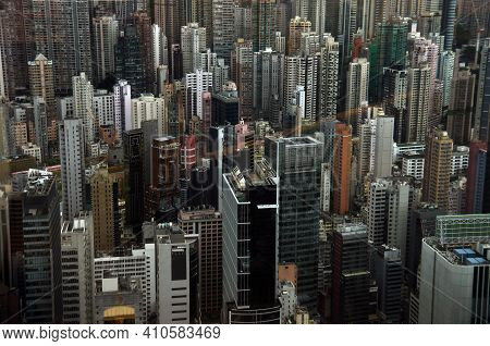 View Of Contemporary Towers Of Modern Metropolis In Daylight, Hong Kong. Highrise Buildings Of Moder