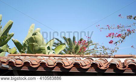 Mexican Colonial Style Suburban, Hispanic House Exterior, Green Lush Garden, San Diego, California U