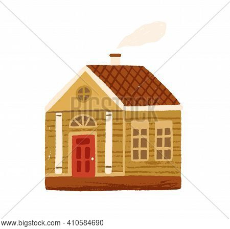 Cute Little Country House With Door, Windows And Attic. Hand-drawn Home With Chimney And Smoke. Vill