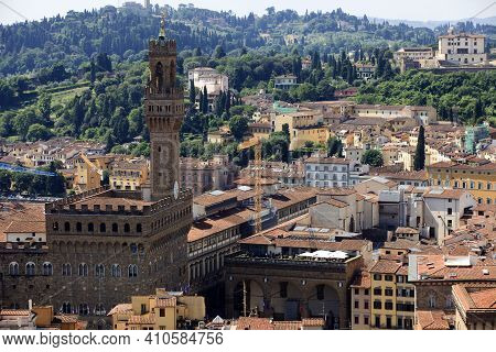 Firenze, Italy - April 21, 2017: Aerial View Of Florence City Center, Firenze, Tuscany, Italy