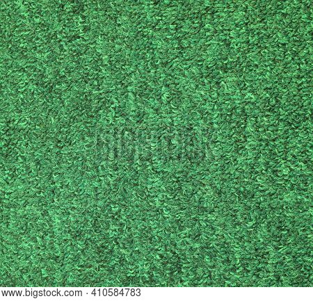 Green Fabric Texture Background. Large Fibers. Factory Knit, Coarse Pile, Large Fibers.