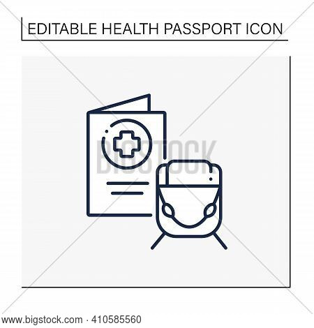 Health Passport Line Icon. Necessary Document About Health Status For Travel. Vaccinated Card.surely
