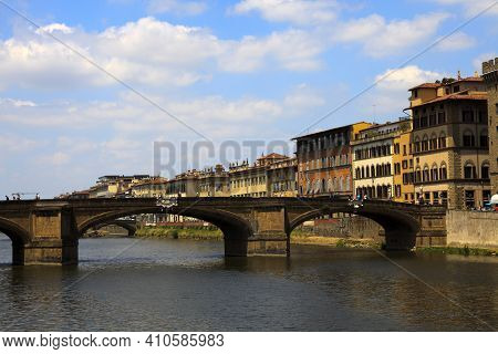 Firenze, Italy - April 21, 2017: Ponte Alla Carraia And Arno River, Florence, Firenze, Tuscany, Ital