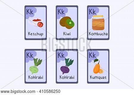 Colorful Phonics Flashcard Letter K - Ketchup, Kiwi, Kombucha, Kohlrabi, Kumquat. Food Themed Abc Ca