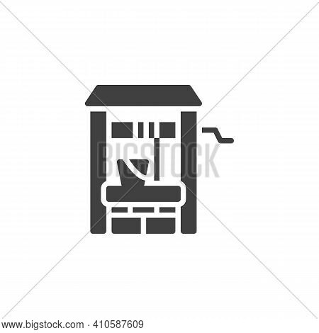 Water Well Vector Icon. Filled Flat Sign For Mobile Concept And Web Design. Well And Water Bucket Gl