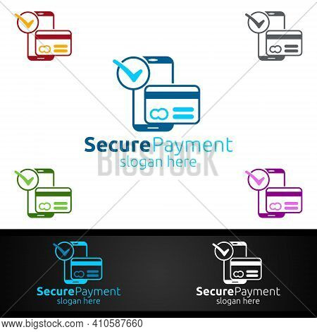 Mobile Online Secure Payment Logo For Security Online Shopping. Financial Transaction. Sending Money