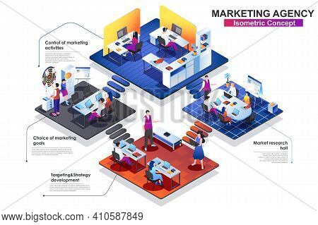 Marketing Agency Interior Isometric Concept. Scenes Of Market Research, Targeting, Strategy Develop,