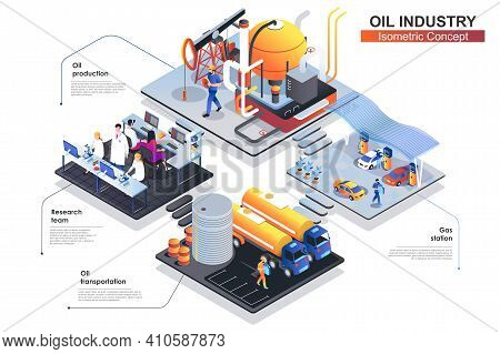 Oil Industry Isometric Concept. Scenes Of People Characters Working At Research Team, Oil Production