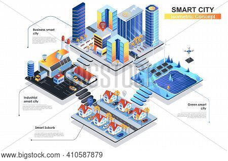 Smart City Isometric Concept. Scenes Of People Characters Working At Business Or Industrial Center,