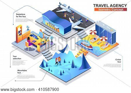 Travel Agency Isometric Concept. Scenes Of People Characters Choose Tour, Fly On Trip, Hiking In Mou