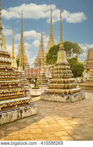 Wat Pho Temple In Bangkok, Thailand, Showing Phra Chedi Rai